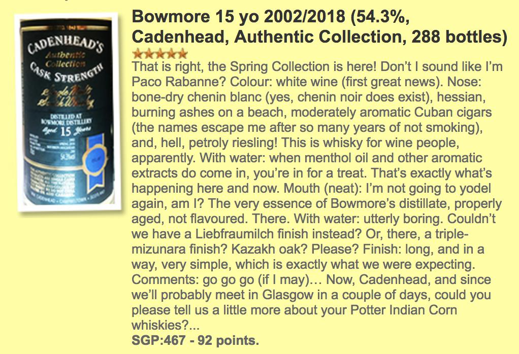 Whiskyfun.com Bowmore 15