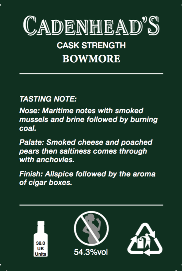 Bowmore 15yo back label